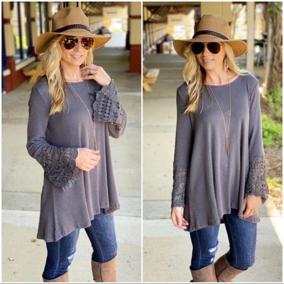 Infinity Raine Tops - Charcoal Lace sleeve tunic